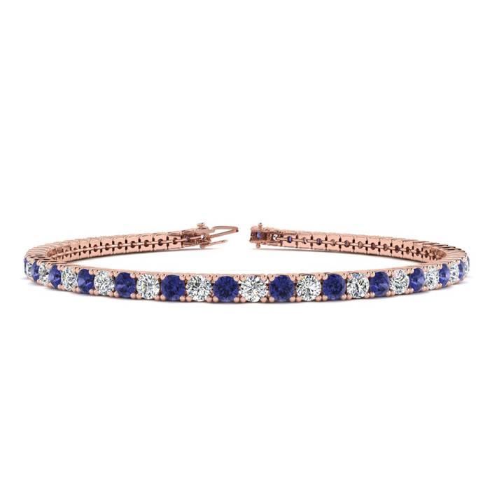 7 Inch 4 1/2 Carat Tanzanite And Diamond Tennis Bracelet In 14k Rose Gold