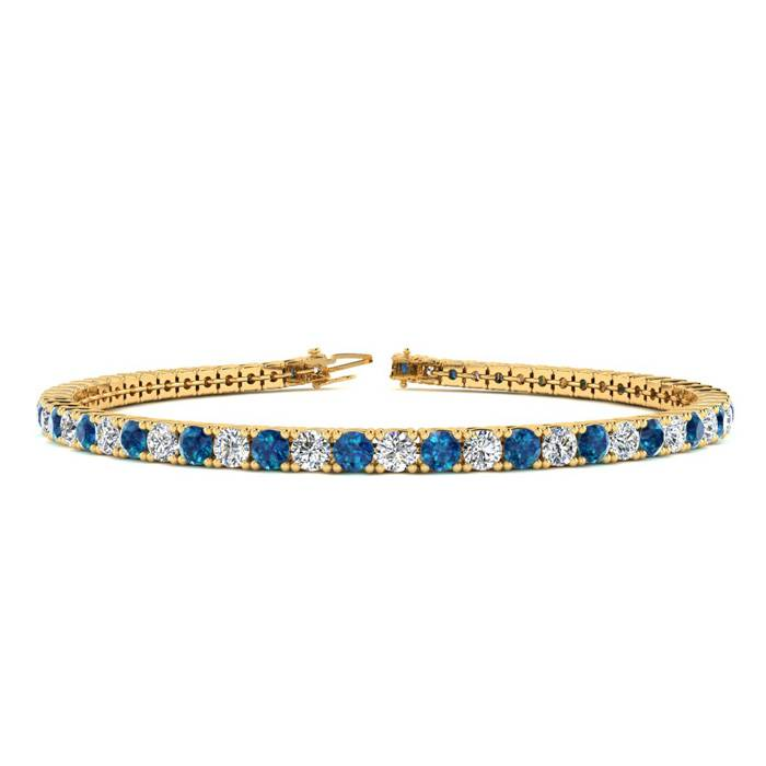 8 Inch 4 1/2 Carat Blue And White Diamond Tennis Bracelet In 14k Yellow Gold