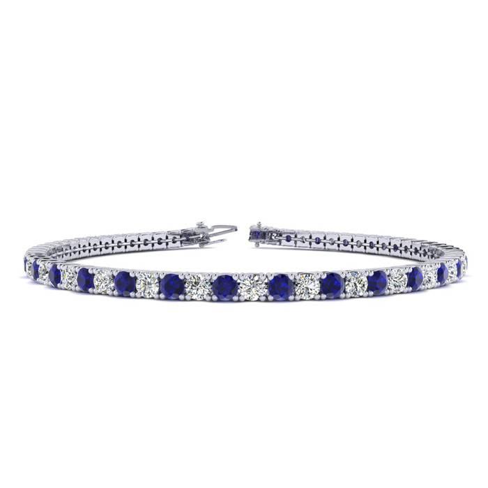6 Inch 4 Carat Sapphire And Diamond Tennis Bracelet In 14k White Gold