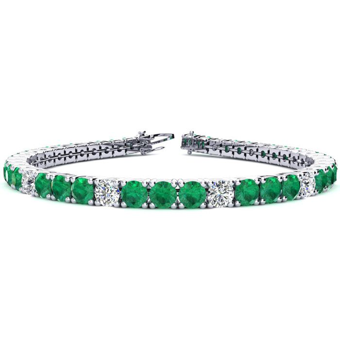 11 2/3 Carat Emerald And Diamond Graduated Tennis Bracelet In 14k White Gold Available In 6-9 Inch Lengths