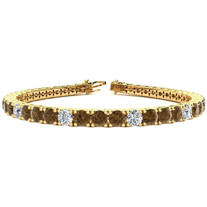 9 3/4 Carat Chocolate Bar Brown Champagne And White Diamond Graduated Tennis Bracelet In 14k Yellow Gold Available In 6-9 Inch Lengths