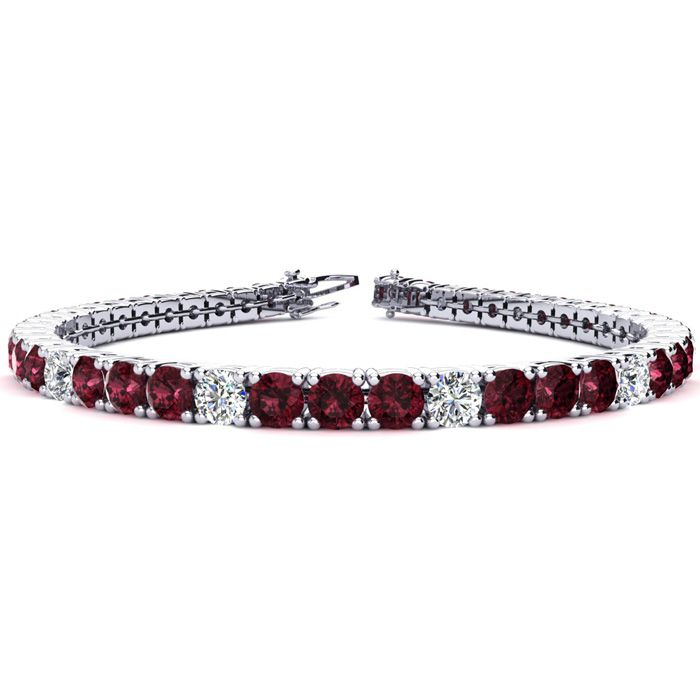 10 1/2 Carat Garnet And Diamond Graduated Tennis Bracelet In 14k White Gold Available In 6-9 Inch Lengths