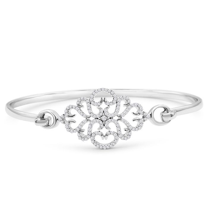 Limited Edition Designer 1/2 Carat Diamond Bangle Bracelet In Sterling Silver, 7 Inches
