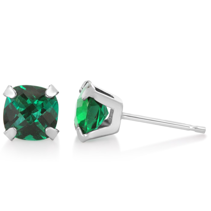 2 1/4 Carat Cushion Cut Created Emerald Stud Earrings In Sterling Silver