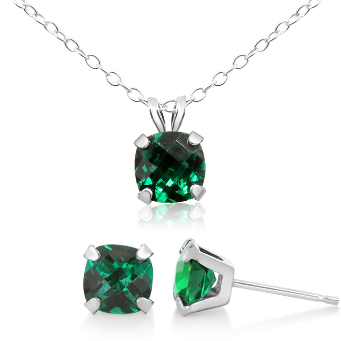 3 1/3 Carat Cushion Cut Created Emerald Necklace and Earring Set In Sterling..