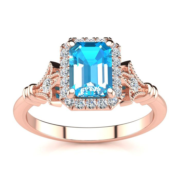 1 1/2 Carat Emerald Cut Blue Topaz And Halo Diamond Vintage Ring In 14 Karat Rose Gold