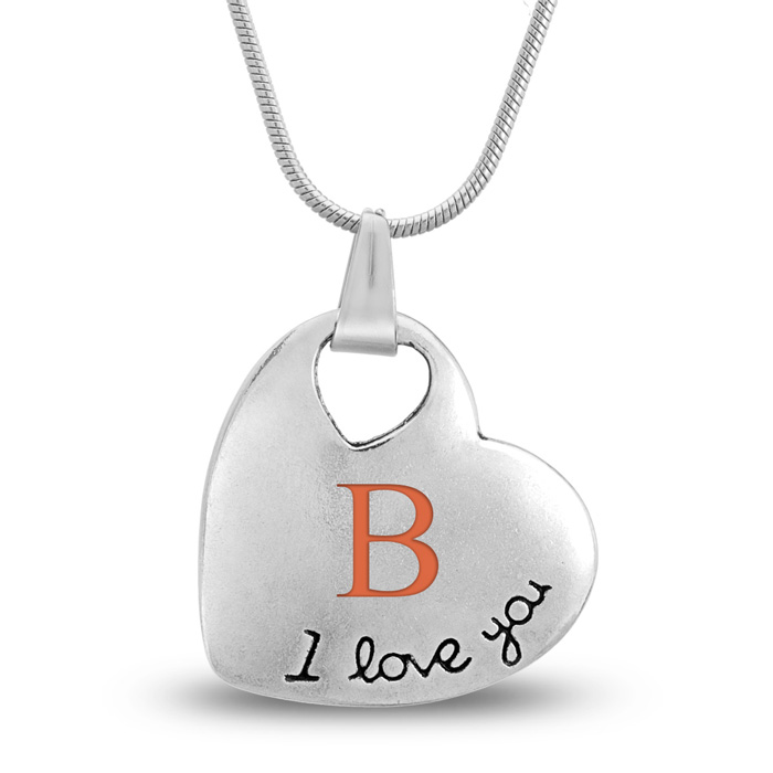 'I Love You' Heart Necklace WITH LETTER ENGRAVED!