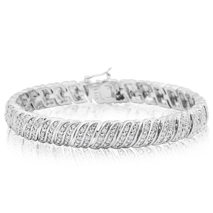 1 Carat Diamond Tennis Bracelet In Platinum Overlay, 7 Inches