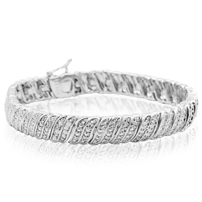 1/4 Carat Diamond Tennis Bracelet In Platinum Overlay, 7 Inches