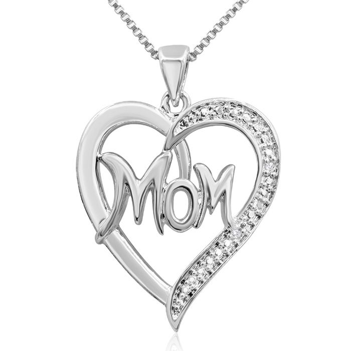 Diamond Accent I Love Mom Heart Necklace, 18 Inches