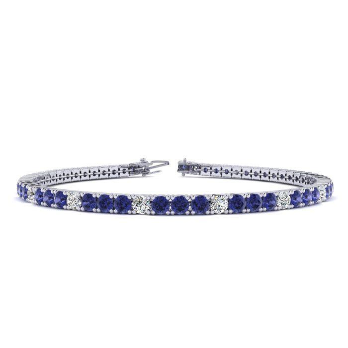 9 Inch 2 3/4 Carat Tanzanite And Diamond Alternating Tennis Bracelet In 14K White Gold 43323