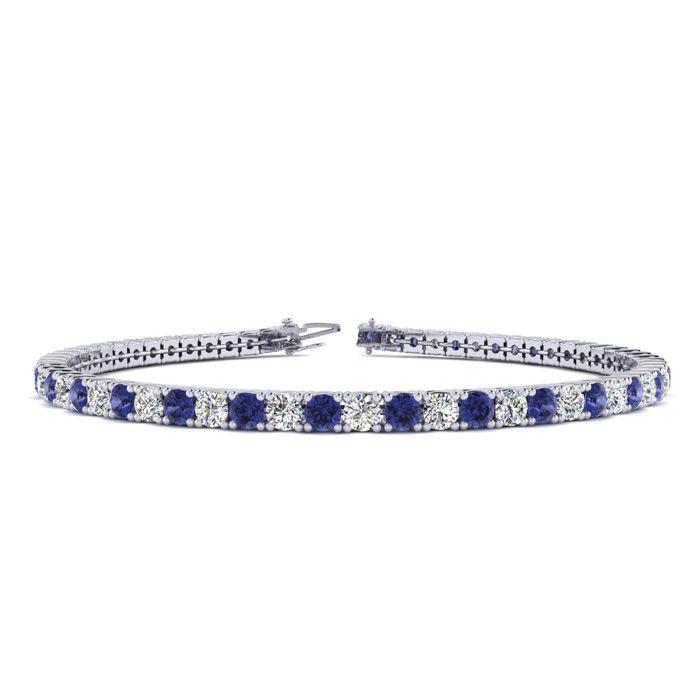 8.5 Inch 2 3/4 Carat Tanzanite And Diamond Tennis Bracelet In 14K White Gold 43687