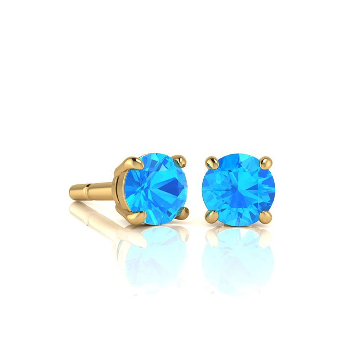 1 Carat Round Shape Blue Topaz Stud Earrings In 14k Yellow Gold Over Sterling Silver