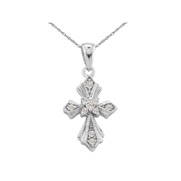 Pretty & Understated Diamond Cross Pendant In 10k White Gold