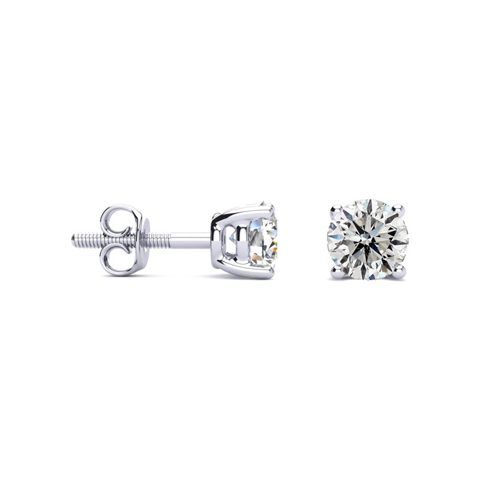 Screwback 1ct Diamond Stud Earrings in Platinum I/J, SI3/I1