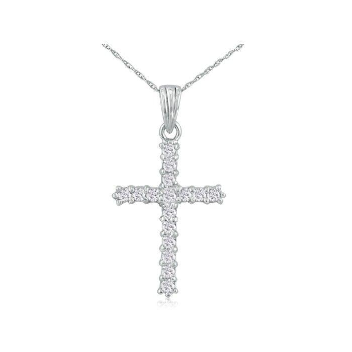 1ct Diamond Cross Pendant in 10k White Gold