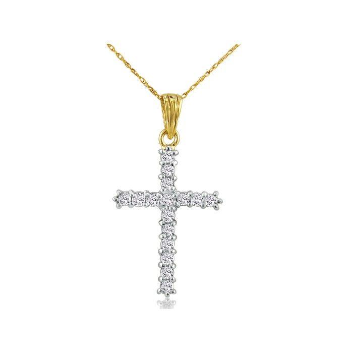 1ct Diamond Cross Pendant in 10k Yellow Gold