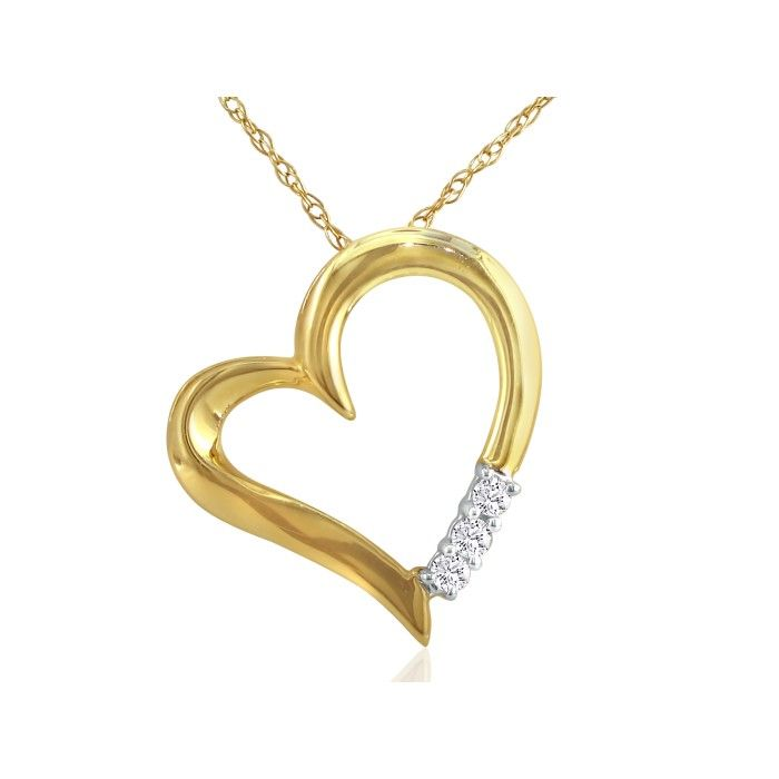 Lovely 1/10ct Three Diamond Heart Pendant in 10k Yellow Gold