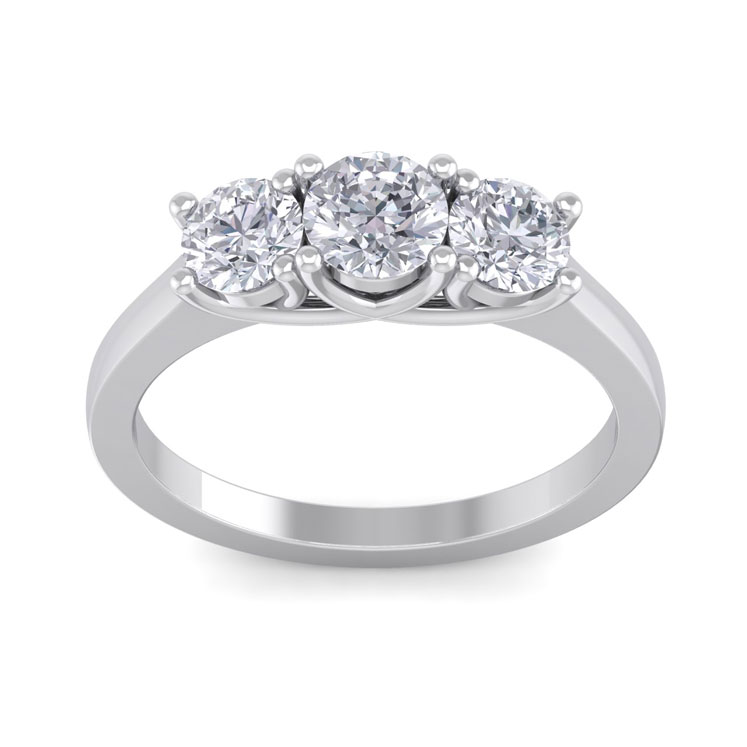 1 1/2ct Ideal Cut Three Diamond Ring, 18k White Gold, G/H, VS2