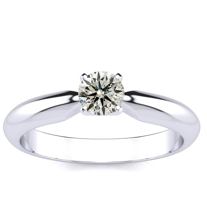1/3ct Diamond Solitaire Engagement Ring in 14k White Gold thumbnail