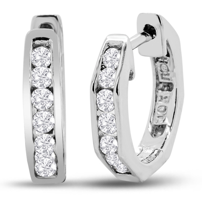 Blowout Price on 1/4ct Huggy Style Diamond Earrings in 10k White Gold.