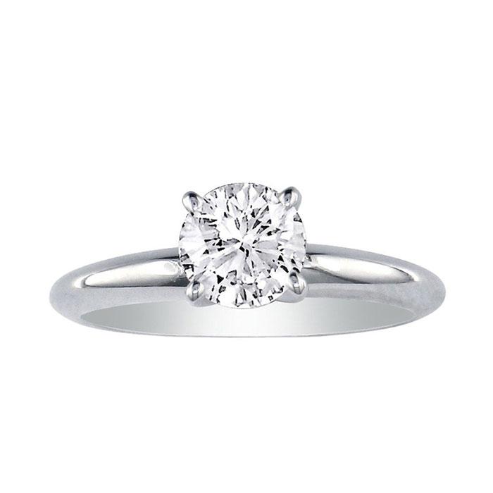 2/3ct Diamond Engagement Ring in 14k White Gold, K/L, I2/I3