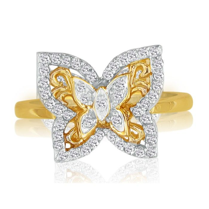 1/4ct Diamond Butterfly Ring in 10k Yellow Gold thumbnail