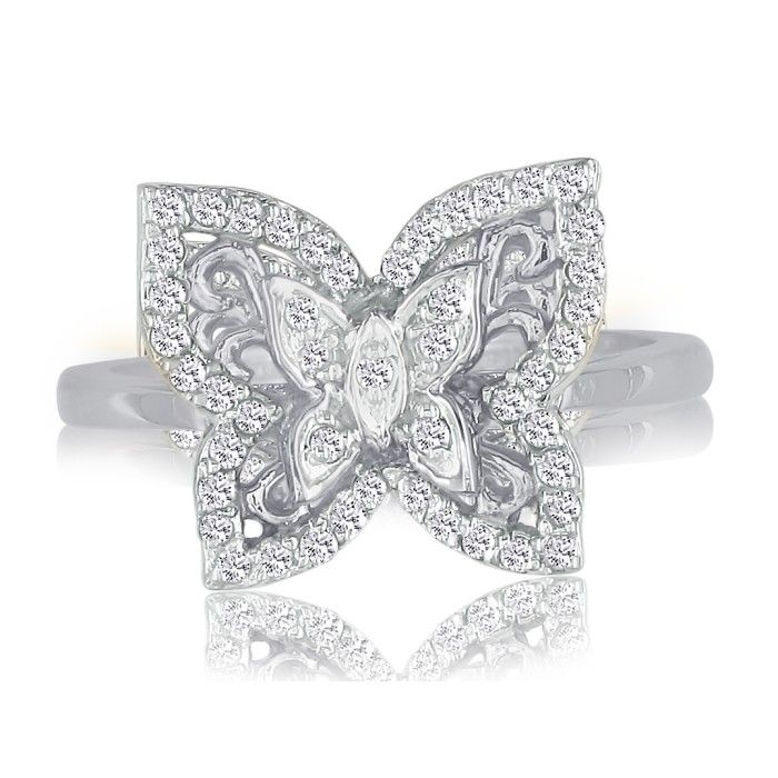 1/4ct Diamond Butterfly Ring in 10K White Gold thumbnail