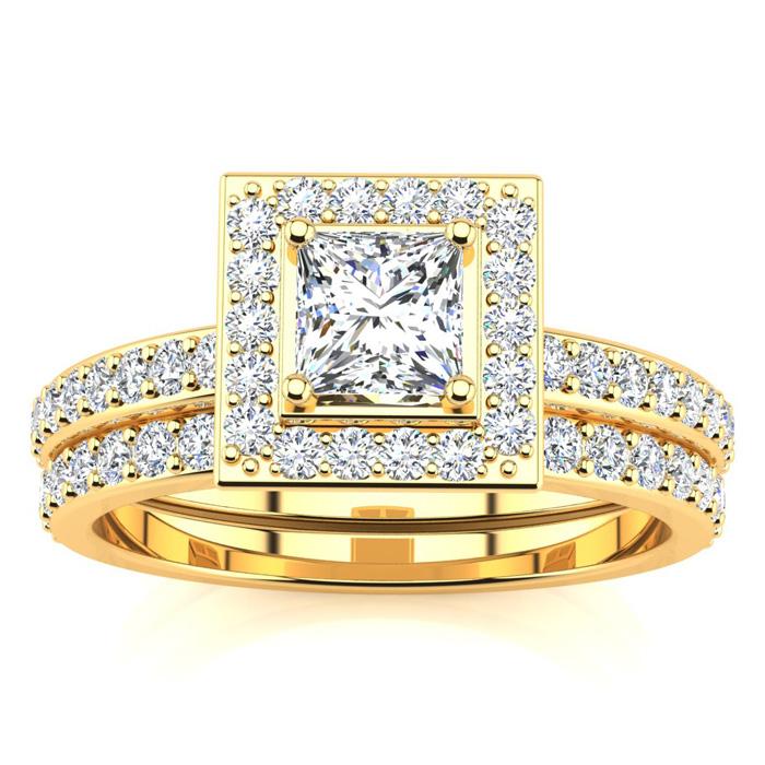 1ct Micro Pave Diamond Bridal Set with 1/2ct Center Diamond in 14k YG