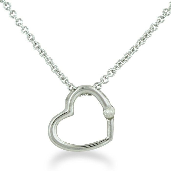 .03ct Diamond Heart Pendant in Sterling Silver