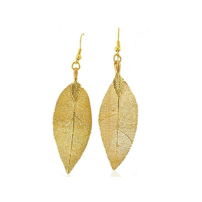 natural leaf earrings coated in 24 karat gold. Black Bedroom Furniture Sets. Home Design Ideas