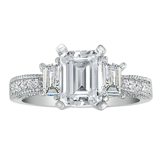 1 3/4ct Emerald Cut Engagement Ring in 14K White Gold