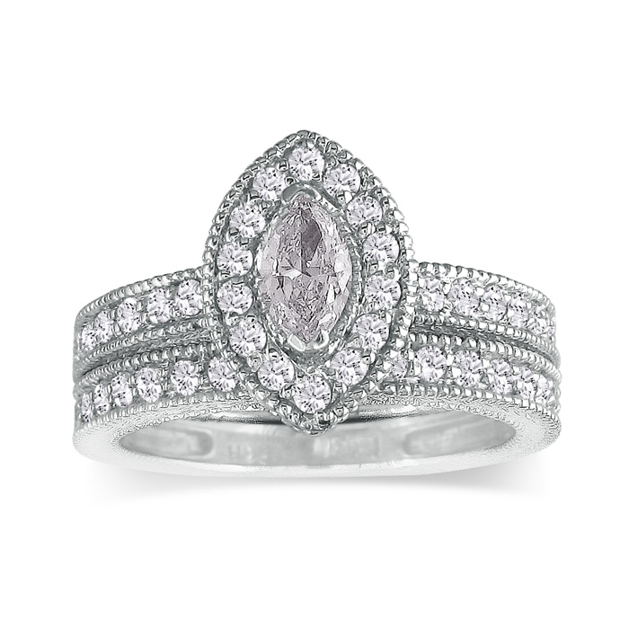 1 1/2ct Marquise Diamond Bridal Set in 14k White Gold, Also Available in Other Diamond Weights thumbnail