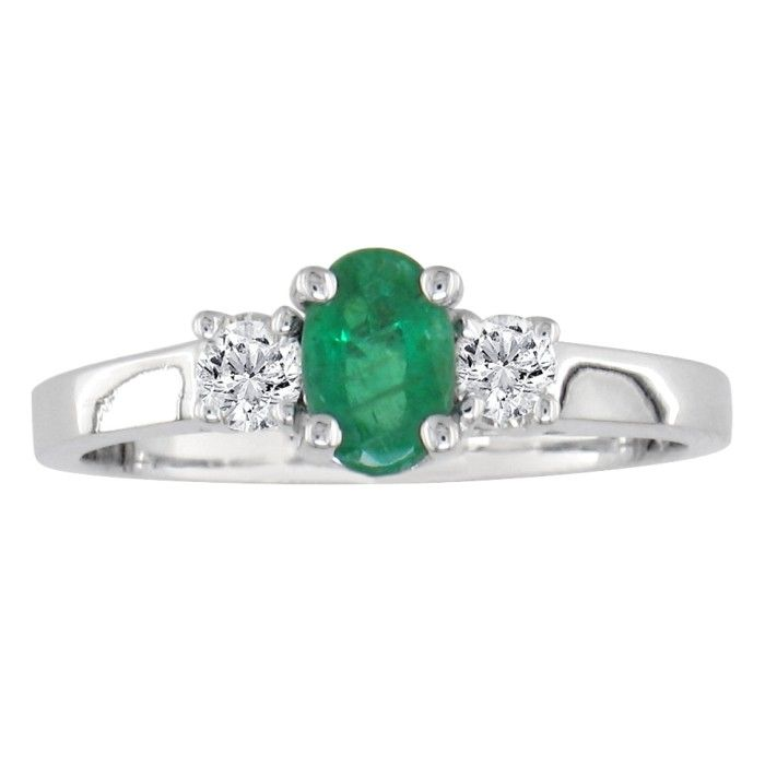.70ct Emerald And Diamond Ring In 14k White Gold