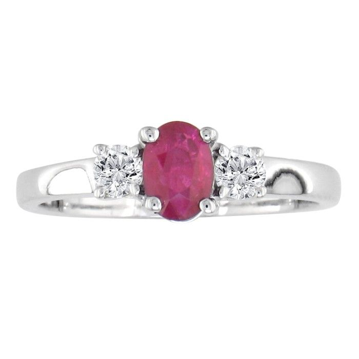 .80ct Ruby And Diamond Ring In 14k White Gold