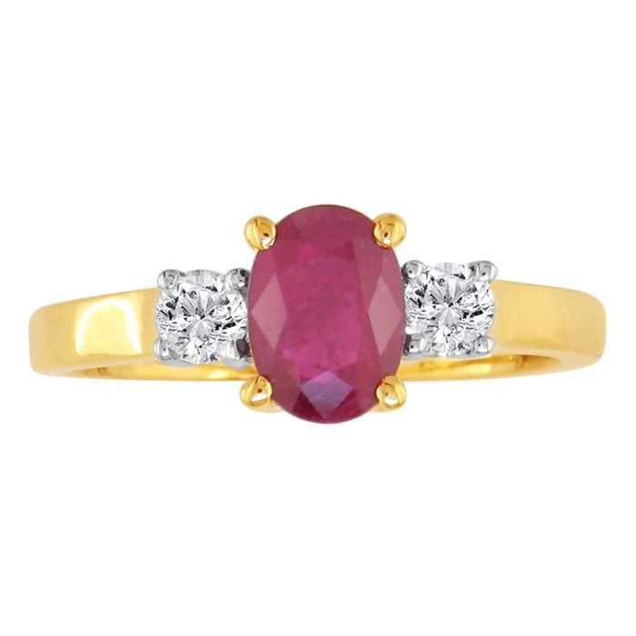 .80ct Ruby and Diamond Ring in 14k Yellow Gold