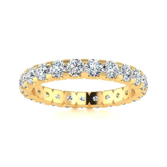 18k 2ct U-Based Diamond Eternity Band,H-I , SI2-I1, Ring Sizes 4 to 9 1/2