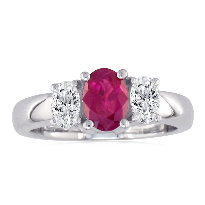 1.50ct Fine Ruby And Diamond Ring In 14k White Gold