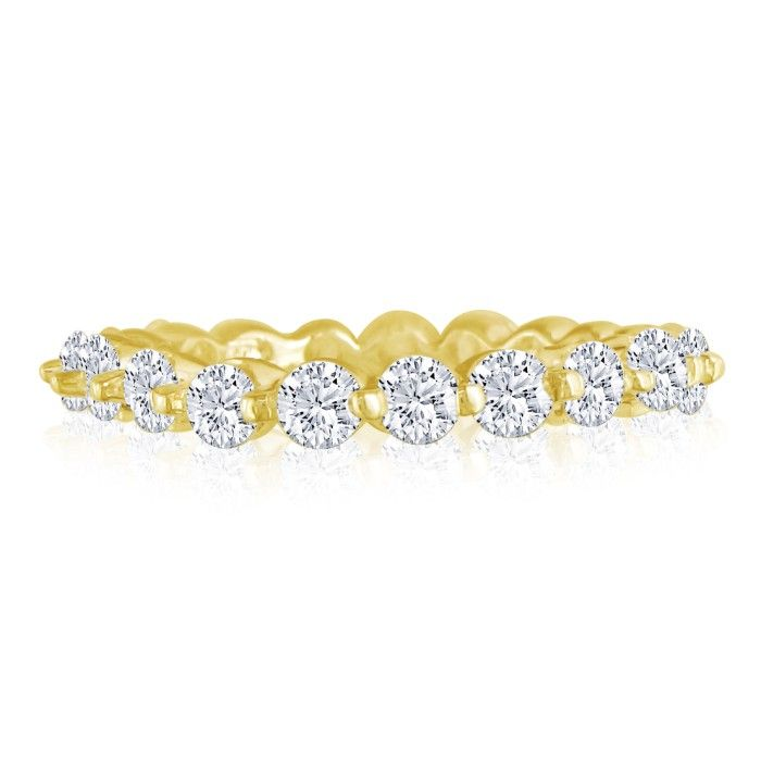 4ct Common Prong Diamond Eternity Band in 18k YG, H-I , SI2-I1, 4-9.5