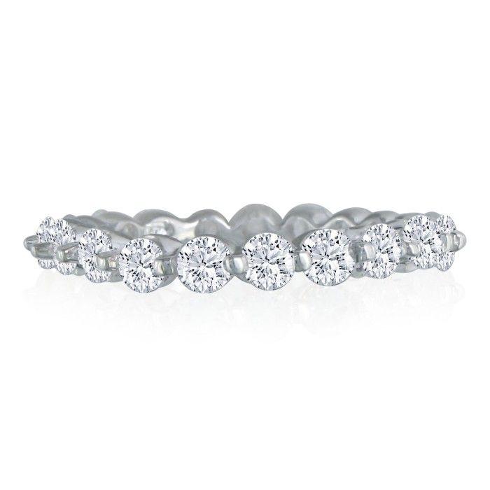 Platinum 5ct Common Prong Diamond Eternity Band, H-I , SI2-I1, 4 to 9 1/2
