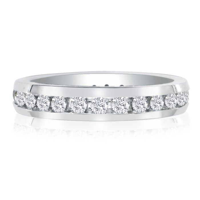 1ct Channel Set Round Diamond Eternity Band in 18k WG, H-I , SI2-I1, 4-9.5