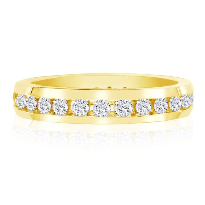3ct Channel Set Round Diamond Eternity Band in 14k YG, H-I , SI2-I1, 4-9.5