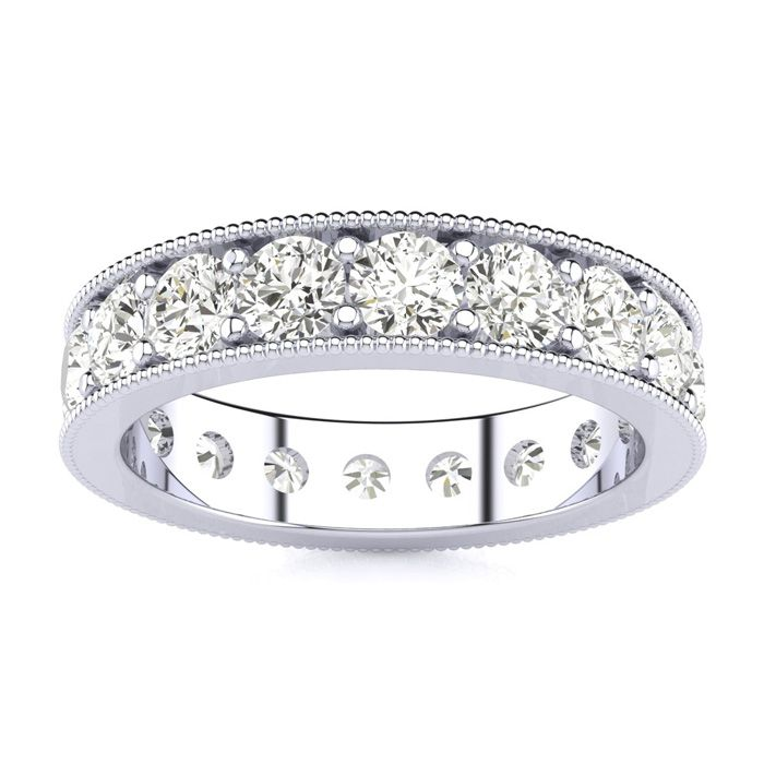 Platinum 2ct Milgrain Prong Channel Eternity Band, H-I , SI1-SI2, 3-9.5