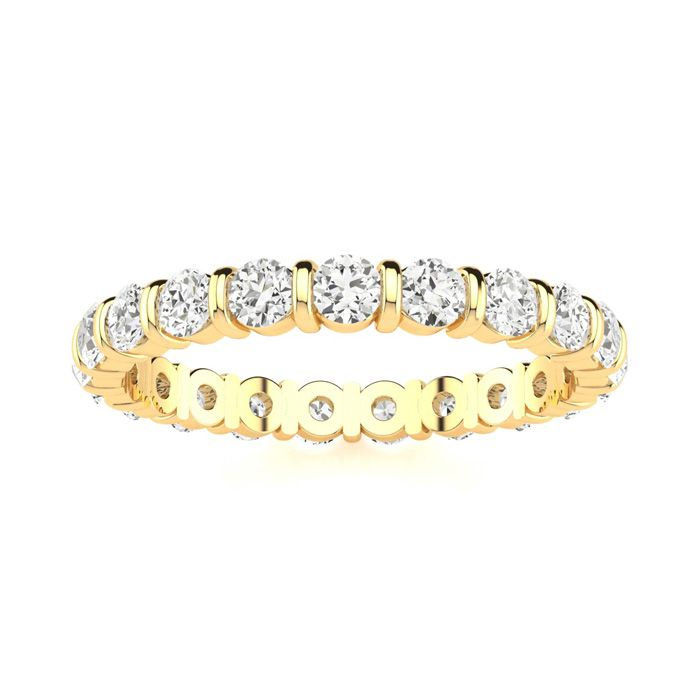 1ct Rounded Bar Set Diamond Eternity Band in 18k YG, H-I , SI1-SI2, 4-9.5