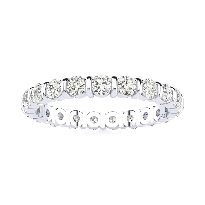 1ct Rounded Bar Diamond Eternity Band in 14k White Gold