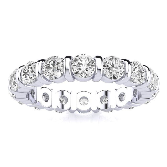 2ct Rounded Bar Set Diamond Eternity Band In 18k Wg, H-i , Si1-si2, 4-9.5