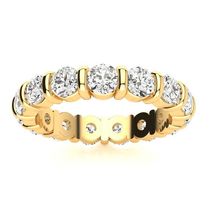 14k 3ct Rounded Bar Set Diamond Eternity Band, Ring Sizes 4 to 9 1/2