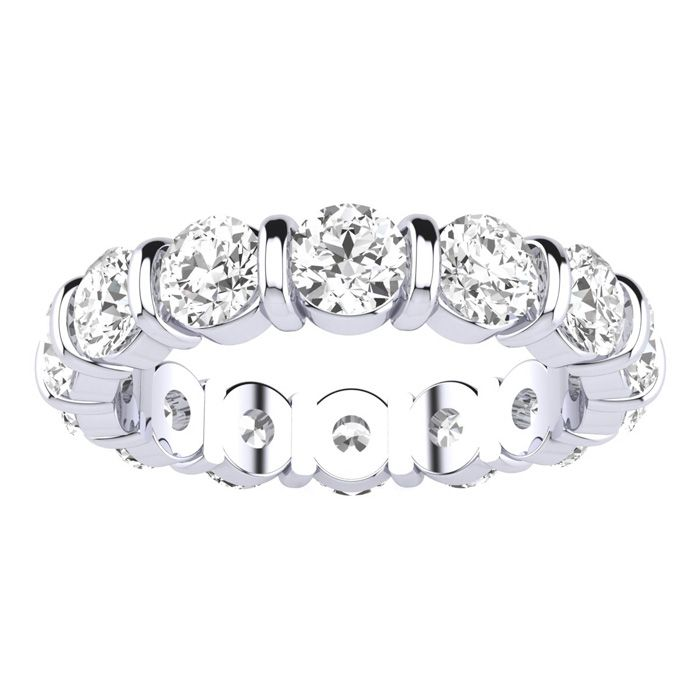 4ct Rounded Bar Set Diamond Eternity Band in 18k WG, H-I , SI1-SI2, 4-9.5