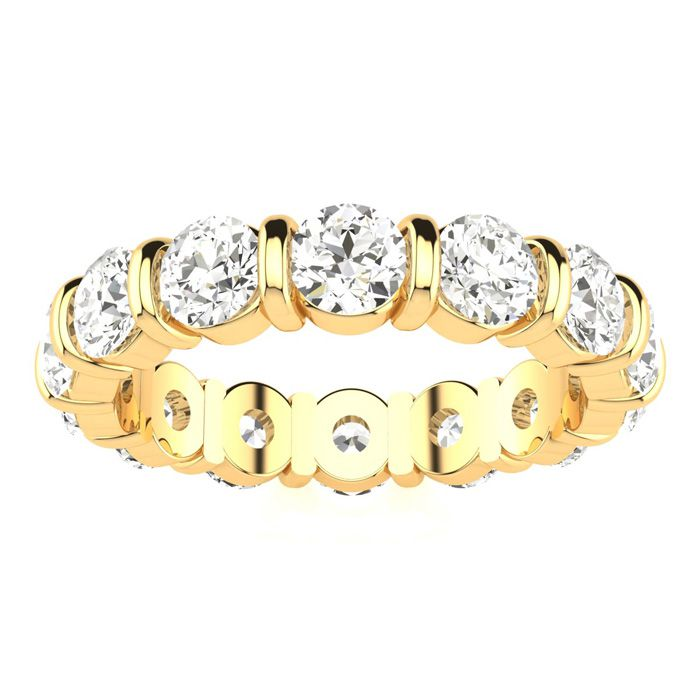 4ct Rounded Bar Set Diamond Eternity Band in 18k YG, H-I , SI1-SI2, 4-9.5