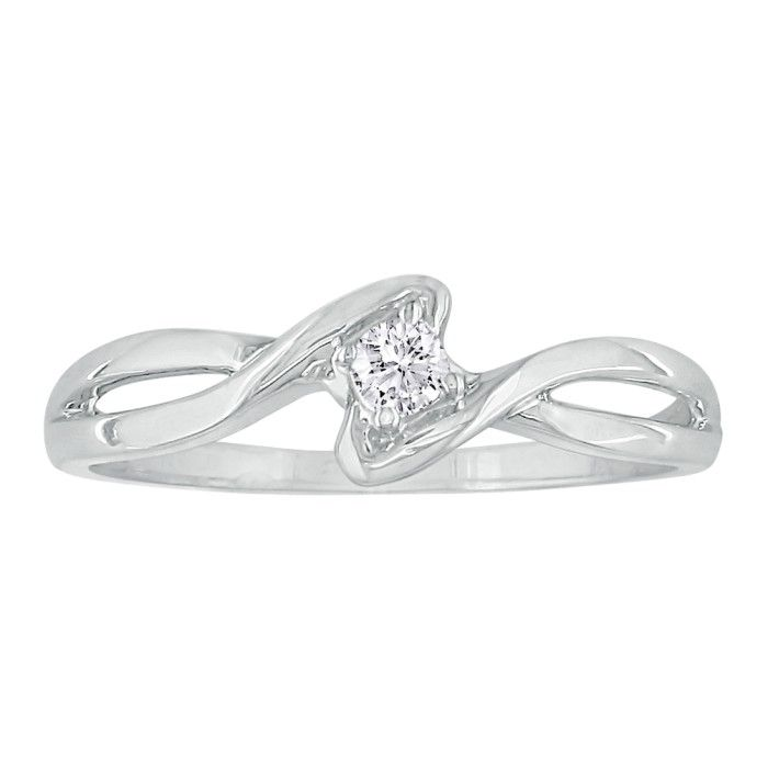 1 10ct twist promise ring in 10k white gold